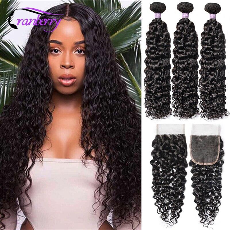 CRANBERRY Hair Remy Water Wave Bundles With Closure 4 Pcs/Lot 3 Bundles Peruvian Human Hair Bundles With Closure Natural Color