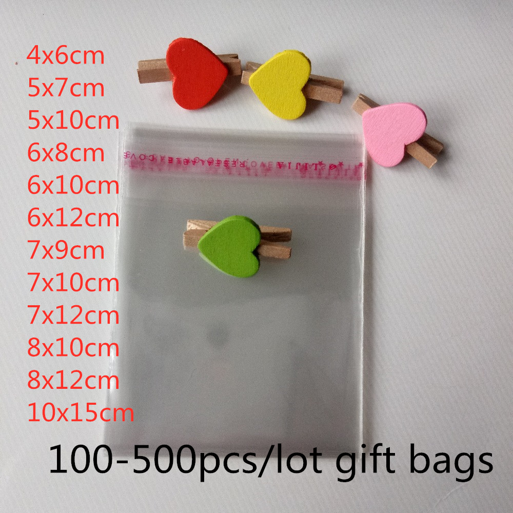 500pcs/lot Gift Packaging Bags Transparent Self Adhesive Seal OPP Plastic Cellophane Bag Jewelry Bags And Packaging Storage Bag