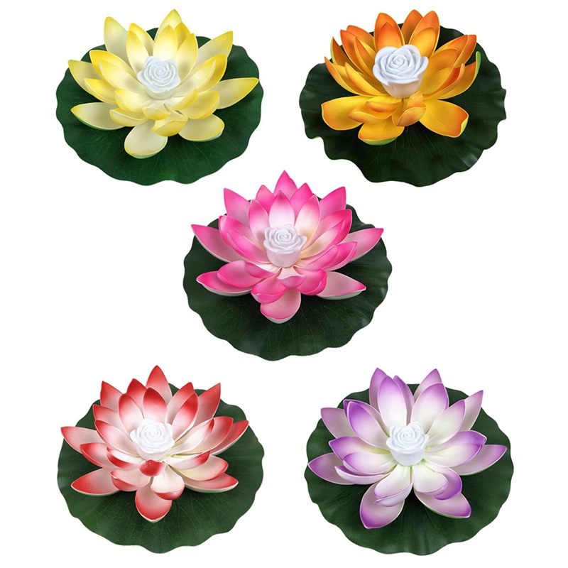 LED Energy Saving Lotus Lamp For Garden Pool Pond Fountain Decoration 18-28cm Artifical Floating Lotus Solar Powered Dropshippin