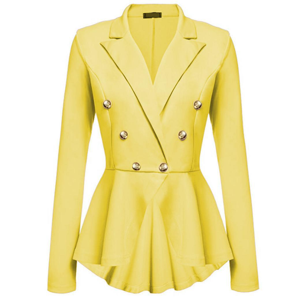 Women Fashion Long Sleeve Solid Button Slim Casual Casual, Office, Etc Autumn, Spring Jacket Buttons Blazer