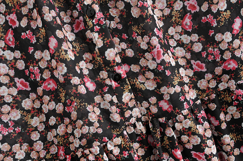 Floral Print Pleated Long Sleeve O Neck Loose Boho Dress 8