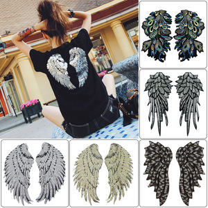 1pair New Wing Embroidery Lace Feather Applique Paillette Fabric Sweater Clothes Patch Sequined Stickers T-shirt Diy Decoration