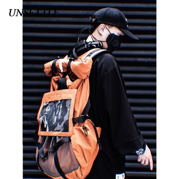 Nieuregulowane męskie damskie taktyki wielofunkcyjna Streetwear hip-hopowe modne plecaki Vintage Canvas Harajuku plecaki szkolne tanie i dobre opinie 11 BYBB S DARK Płótno Unisex Rama zewnętrzna 20-35 litr Ciąg Solidna torba Poliester