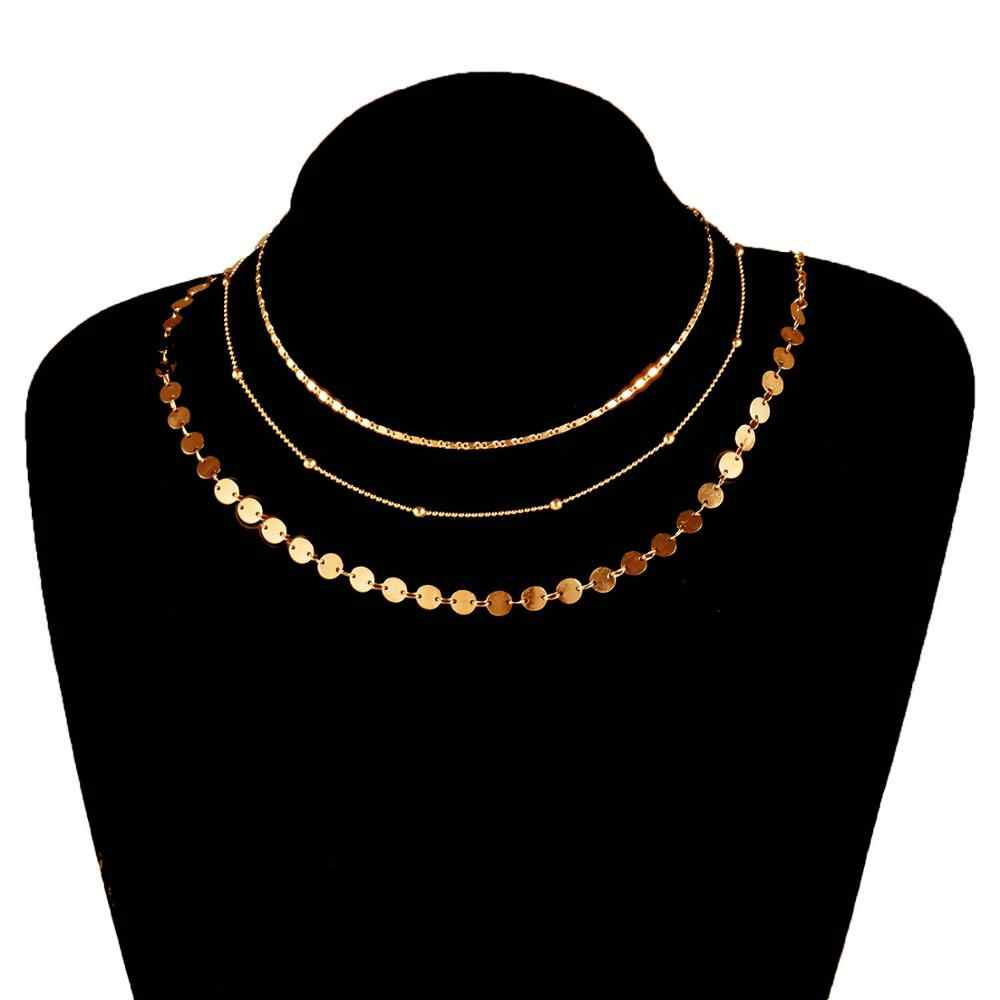 3 Piece/Set Women Choker Necklace Gold Coin Necklace Bead Chain Necklace Round Necklace Collier Femme XL117