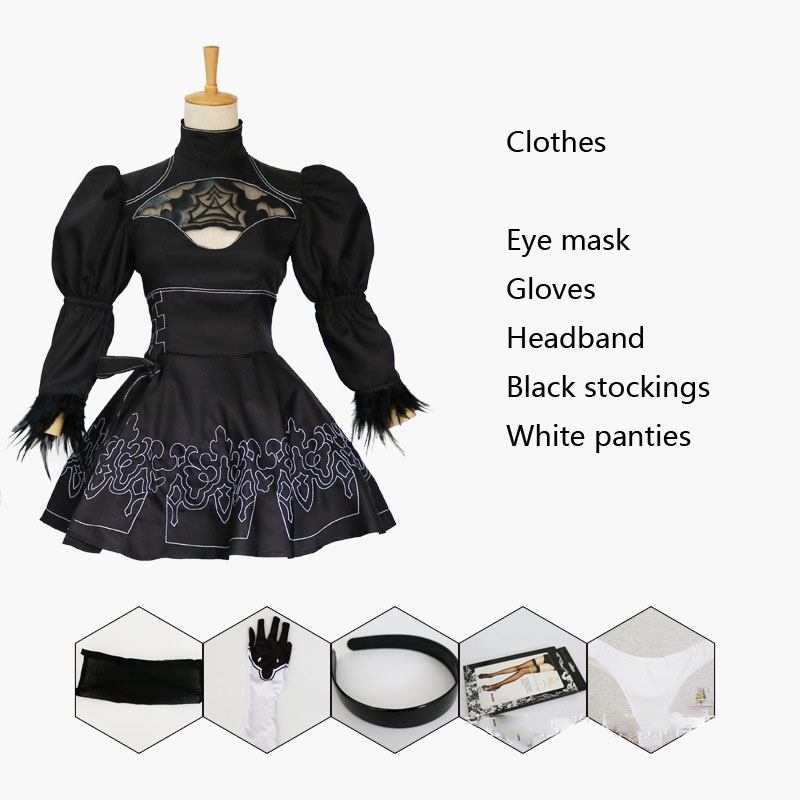 2B Cosplay Nier Automata Outfit Game Full Costume Glove Hairband Wig Fancy Dress