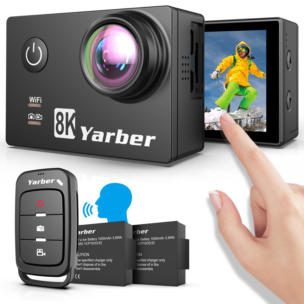 Yarber 8K Action Sports Camera WIFI 4K 60fps Bicycle Helmet Action Cameras 40M Waterproof Diving Video Dash Cam with Remote APP