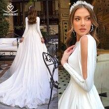 Hochzeit Kleid Elegante Satin A linie Mode Langarm Vestido de novia 2020 Einfache Prinzessin Zug Swanskirt TZ00 Brautkleid