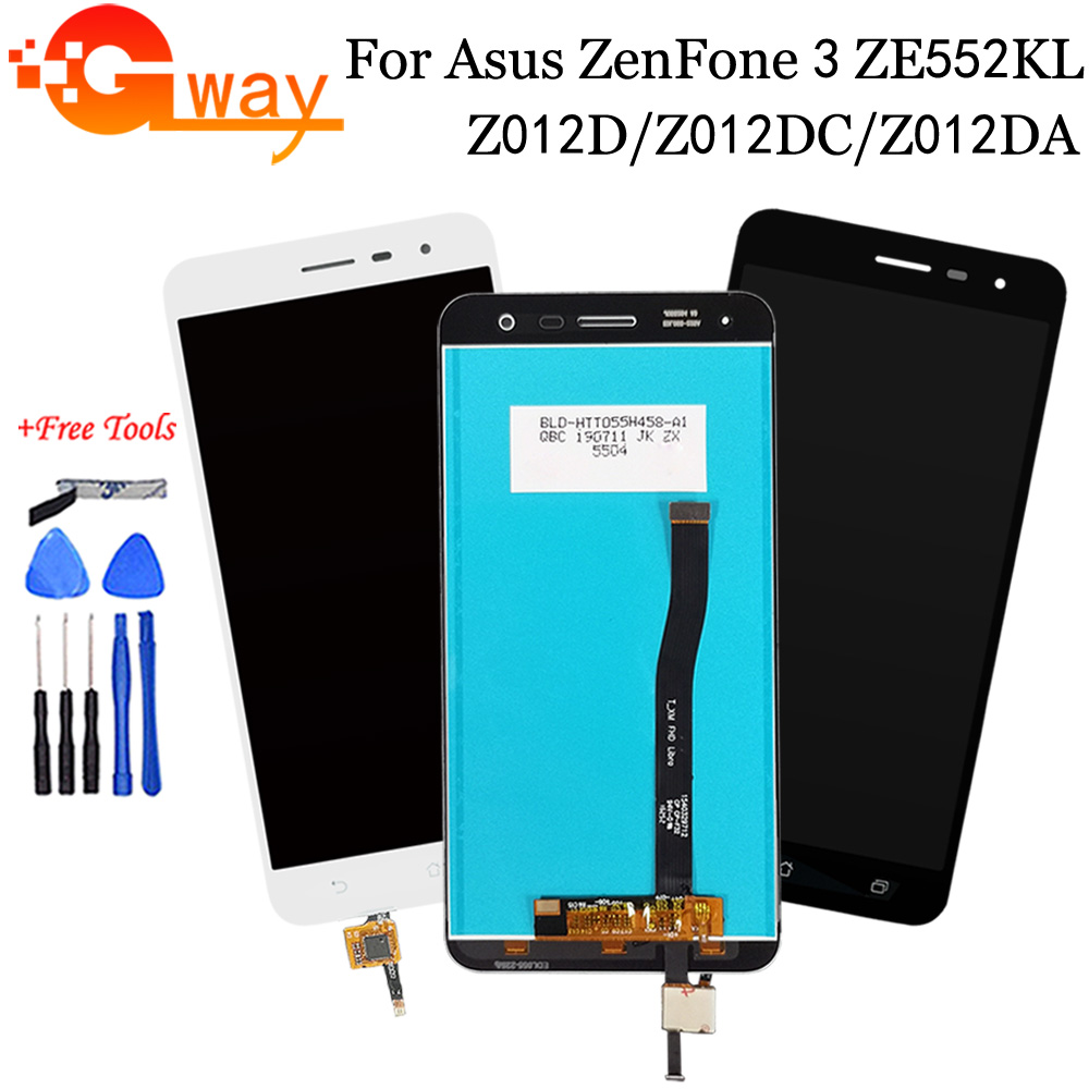Black/White For <font><b>Asus</b></font> <font><b>ZenFone</b></font> <font><b>3</b></font> <font><b>ZE552KL</b></font> <font><b>LCD</b></font> <font><b>Display</b></font> + Panel Touch Screen Digitizer Assembly For <font><b>ZE552KL</b></font> Z012D Z012DC Z012DA <font><b>LCD</b></font> image