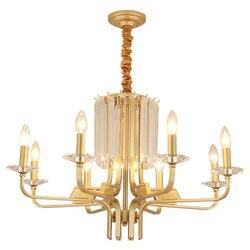 E14 uchwyt żyrandole światła nordycki współczesny żyrandol światła oświetlenie lampa wisząca luksusowy złoty metal kryształ lampa