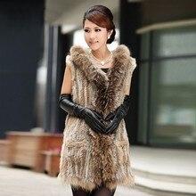 Зимний женский жилет из натурального кроличьего меха с воротником из меха енота и капюшоном, длинный стиль, натуральный мех, женский жакет в стиле кэжуал, меховая одежда