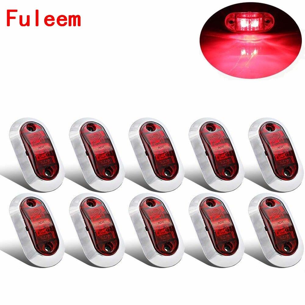 Fuleem 10PCS Chrome Bezel Red LED 2.5INCH 2 Diode Light Oval Clearance Trailer Truck LED Side Marker Lamp 12V 24V Waterproof