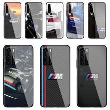 Funda de teléfono para coche, cristal templado azul y rojo para Huawei P30 lite 20 por P9 10 Mate 10 9 Honor 8X9 10 NOVA 5