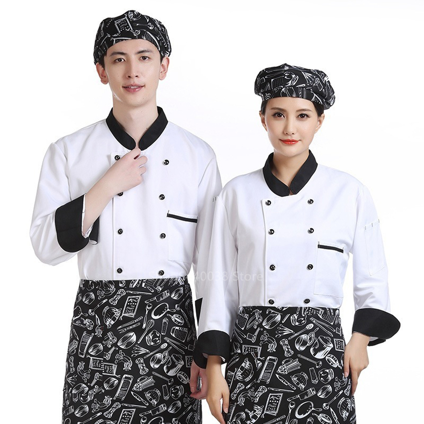 New Arrival Chef Jacket Women Men Solid Aprons Restaurant Kitchen Canteen Bakery Food Service Waitress Breathable Work Uniform