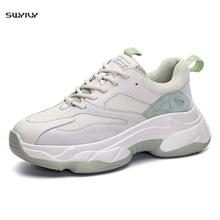 Sneakers Women Flats Platform Sneakers Women Casual Shoes Breathable Woman Chunky Sneakers Thick Bottom Lace-Up Vulcanized Shoes woman sneakers metallic color woman shoes front lace up woman casual shoes low top rivets embellished platform woman flats brand