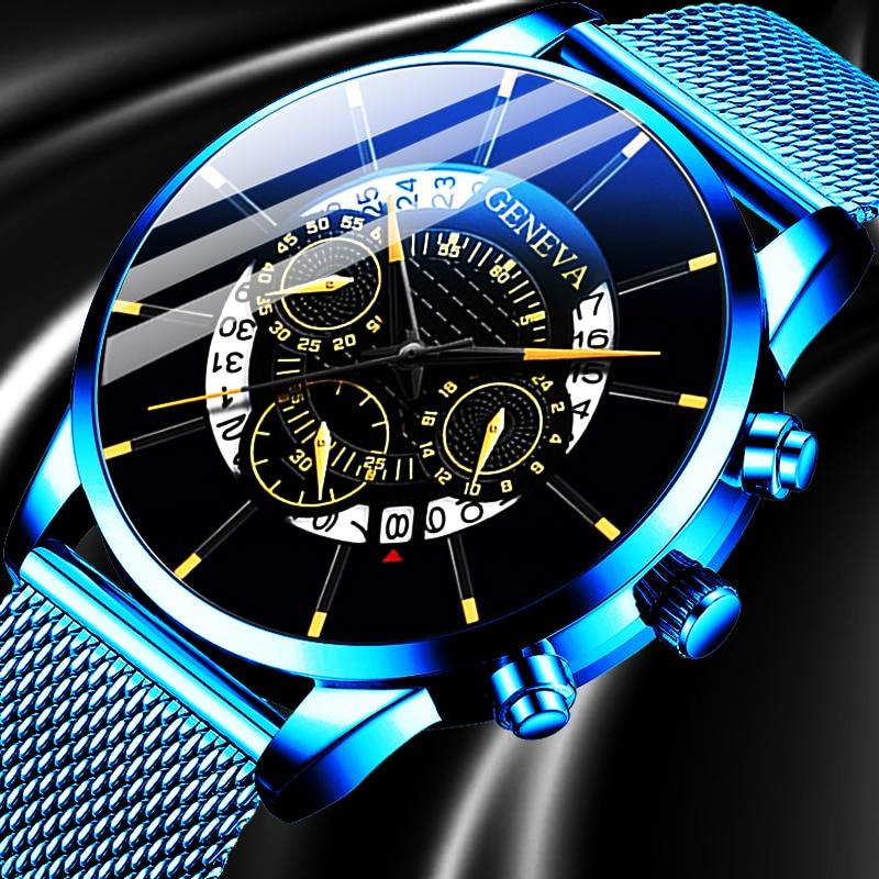 2020 Fashion Mens Business Casual Date Calendar Watches Luxury Blue Stainless Steel Mesh Belt Quartz Watch For Man Clock