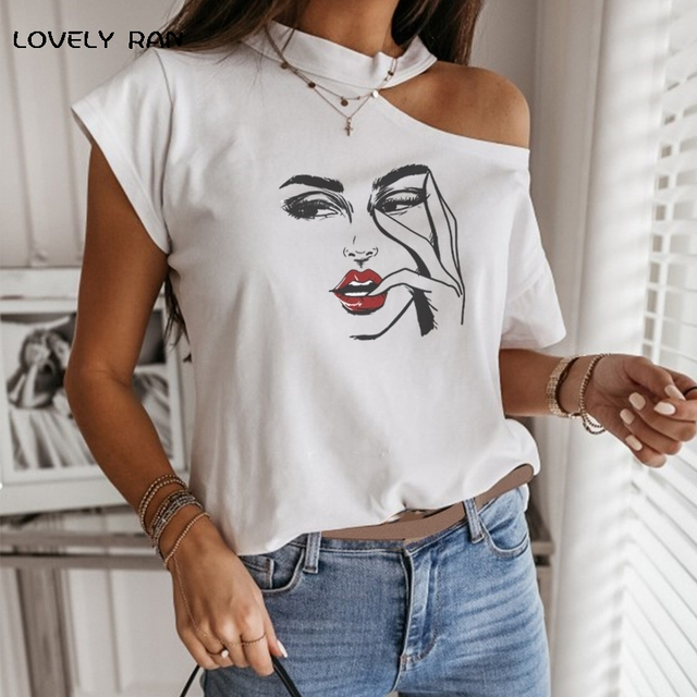 100% Cotton Women Tshirt Short Sleeve Cold Shoulder Art Print Aesthetic Halter T-Shirt Female Tops Casual Streetwear 2021 Summer 4