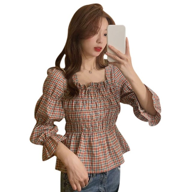 Liva Girl Retro Shirt Women Square Collar Blouse Plaid Printed Flare Sleeves Slim Waist All-Match Picture Color 2xl Camisa 2