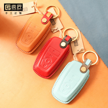 2020 NEW High Grade LeatherCraft Hand Sewing Genuine Leather Smart Car Key Case Cover for Ford EDGE/MONDEO/Focus ST