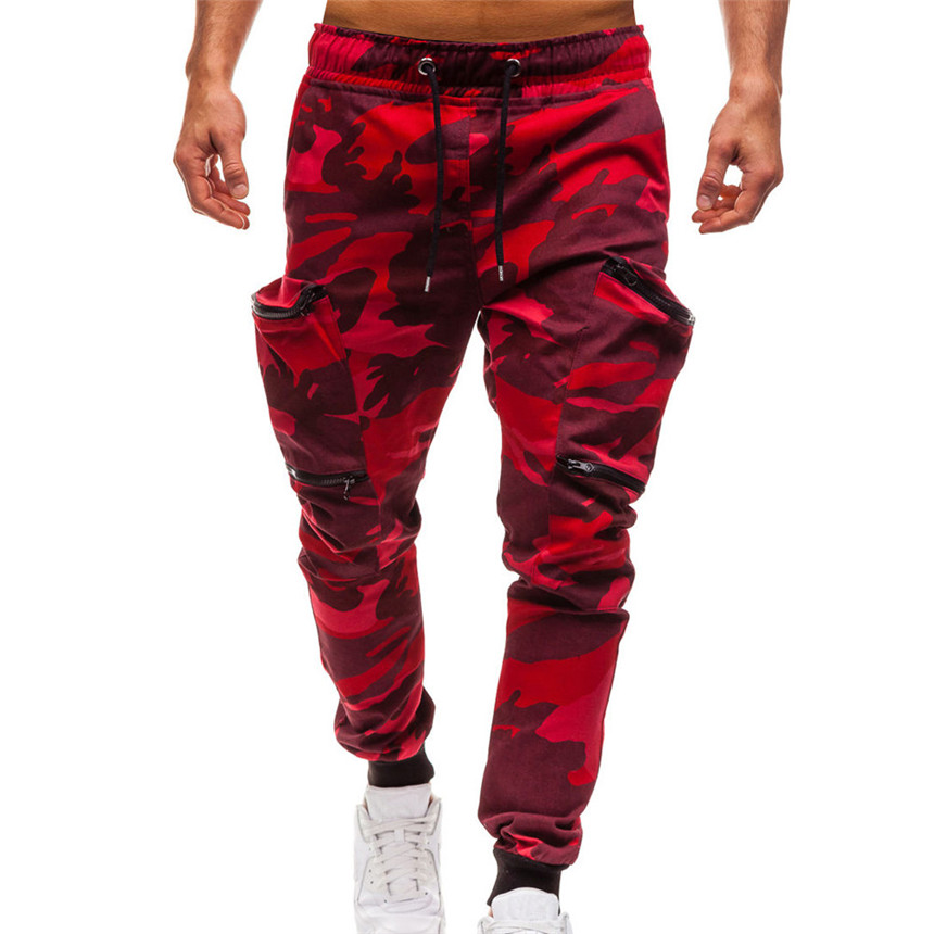 KLV Pants Men's Autumn Casual Pants Drawstring Classic Camo Joggers Pants Zipper Pockets Sweat Pants Red Camouflage Pants