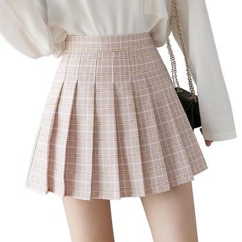 QRWR Summer Women Skirts 2020 New Korean High Waist Plaid Mini Skirt Women School Girls  Cute Pleated Skirt with Zipper