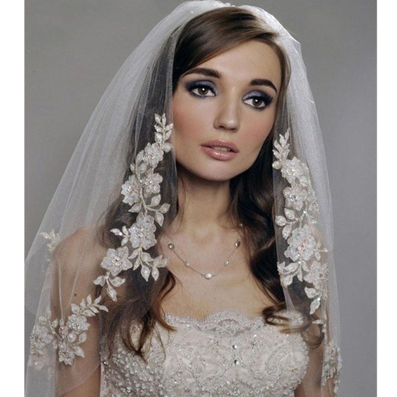 White Ivory Lace Short Wedding Veils 2020 Cheap Bridal Veils With Comb Wedding Accessories Velo De Novia Vail