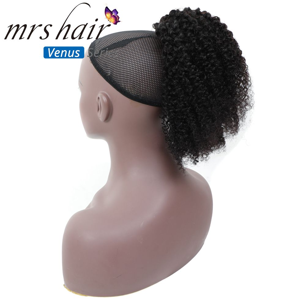 MRSHAIR Afro Kinky Curly Ponytails 4b 4c Puff Coily For Black Women Remy Hair Coarse Mongolian Clip Hair Drawstring Ponytails