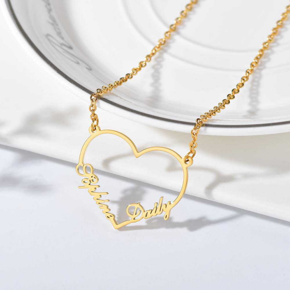 Atoztide Custom letter Necklaces Personalized Jewelry Chain Pendant name gold necklace for women stainless steel Gifts 2