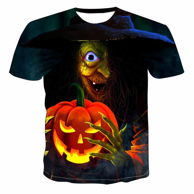 3D Hip Hop ผู้ชาย TShirt Gothic โคมไฟฟักทองนิ้วมือสั้นแขนเสื้อสบายๆฤดูร้อน Tops Skull 3D พิมพ์เสื้อยืดสำหรับชาย