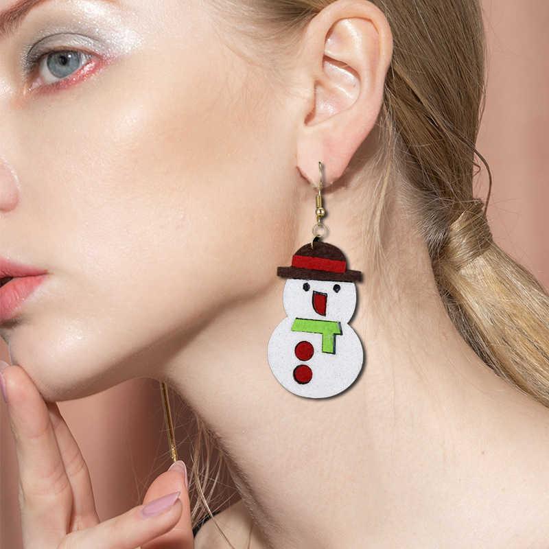 Natal Perhiasan Anting-Anting Lucu Santa Claus Elk Snowman Pohon Kaus Kaki Bell Topi Rusa Xmas Indah Hadiah Merasa Kain Drop Anting-Anting brincos