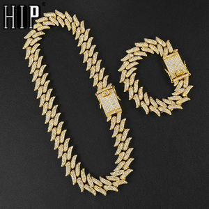 Hip Hop Bling Iced Out Full Rhinestone Men's Thorns Bracelet Gold Prong Cuban Link Chain Bracelet Necklace for Men Jewelry