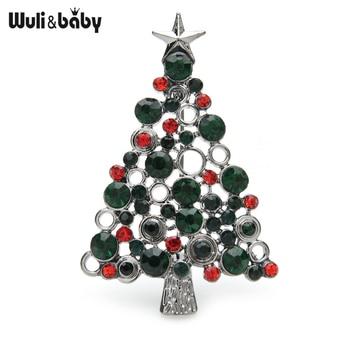 Wuli&baby Green Rhinestone Pine Christmas Tree Brooches For Women Men New Year Brooch Pins Gifts imitation pearls christmas tree brooch pin women fashion rhinestone brooches xmas new year gift