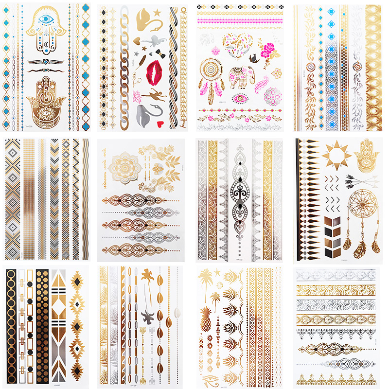 12 Sheets Gold Silver Metallic Temporary Tattoos For Women Tattoos Glitter Shimmer Designs Jewelry Tattoos Flash Tattoo Stickers