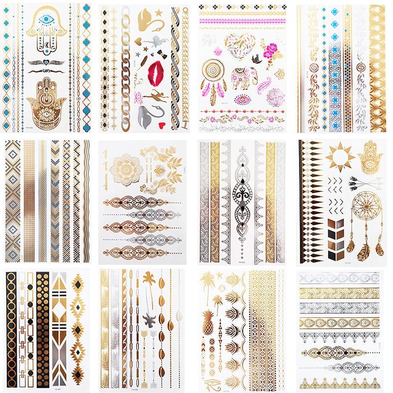 12 Sheets Gold Silver Metallic Temporary Tattoos For Women Tattoos Glitter Shimmer Designs Jewelry Tattoos Flash Tattoo Stickers