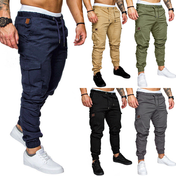 цена на Men Black Joggers Pants Summer 2020 Sweatpants Pockets Drawstring Pants Streetwear Cargo Pants Men Trousers Elastic Long Pants