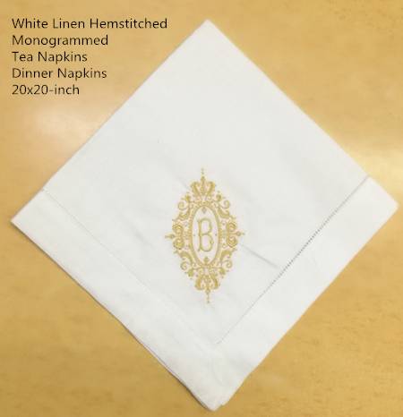 Set Of 12 Fshion Monogrammed Dinner Napkins White Linen Hemstitch Table Napkins 20