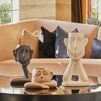 3Pcs/set Nordic Ceramic Abstract Figure Vase Black White Human Face Creative Display Room Figue Head Shape Decorative Vase R4600