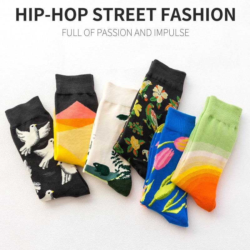 Creative Men Fashion Harajuku Kawaii Happy Male Cotton Long Socks Women Quality Funny Quality Funny Streetwear Socks Cute Crazy