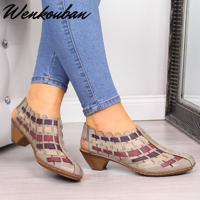 Women Sandals Gladiator Summer Sandals Fashion Stitching Ladies Heel Sandals Female Casual Wedges Sandals Sandalias Mujer