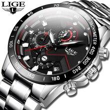 LIGE 9982 Clock Stainless Steel Waterproof