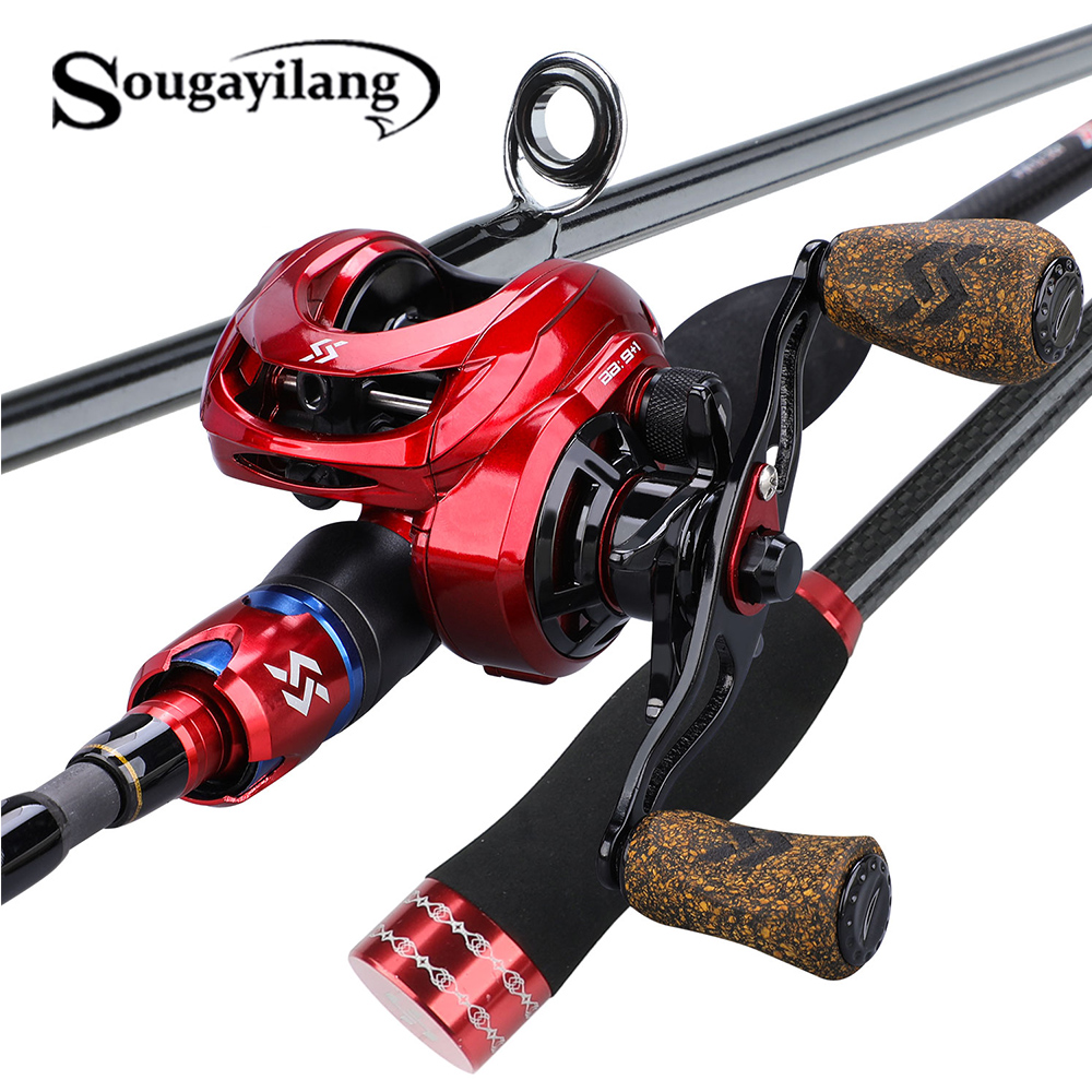 Sougayilang 1.8m 2.1m Casting Fishing Rod Combo 4 Sections Carbon Fiber Fishing Rod and 9+1bb Baitcasting Fishing Reel Set|Rod Combo| |  - title=
