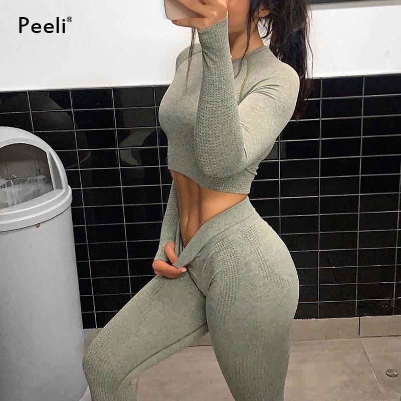 Women 2pcs Seamless Yoga Set Sport Suit Gymwear Workout Clothes Long Sleeve Gym Crop Top High Waist Leggings Fitness Sports Wear 2
