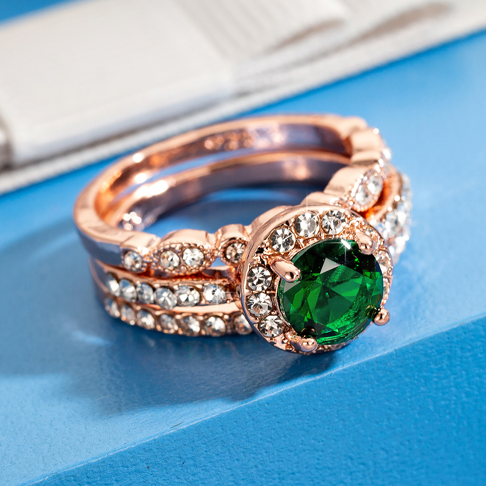 Anillos de Compromiso de piedra verde de cristal 3 unidades