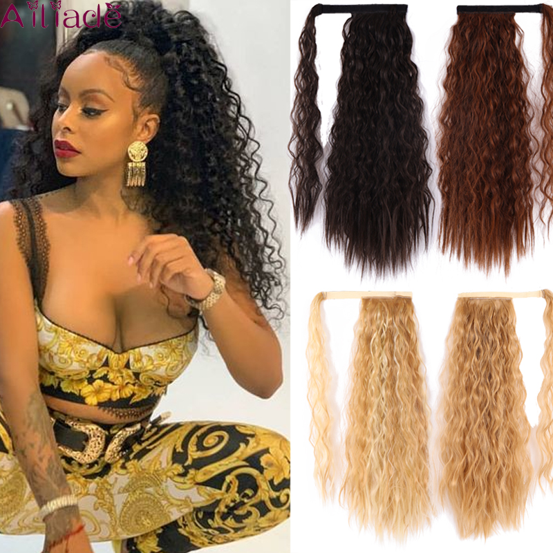 AILIADE Curly Ponytail Natural Wrap On Clip Hair Extensions For Women False Hair Horse Tail Heat Resistant Synthetic Hair Piece