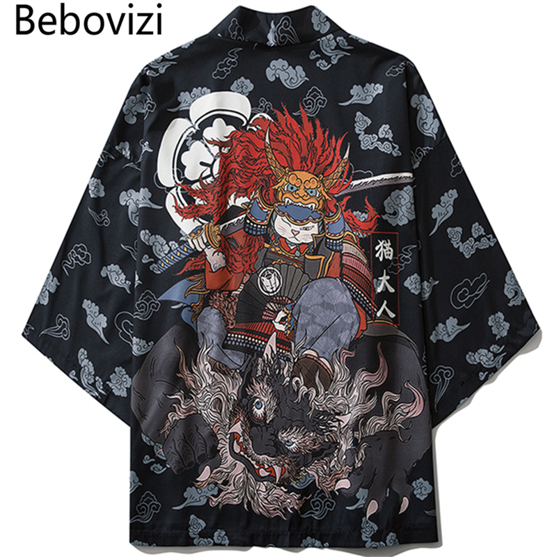 Bebovizi Japanese Style Cat Samurai Kimono Streetwear Men Women Cardigan Japan Harajuku Anime Robe Anime Clothes 2020 Summer