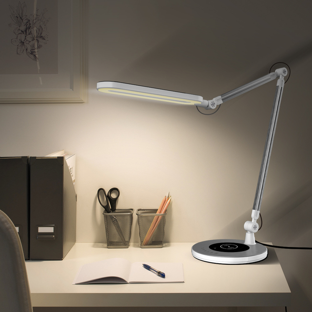 10W Bright Tall Task Light for Office Reading Working - Adjustable Swing Arm Drafting Table Lamp Memory Function Touch Stepless