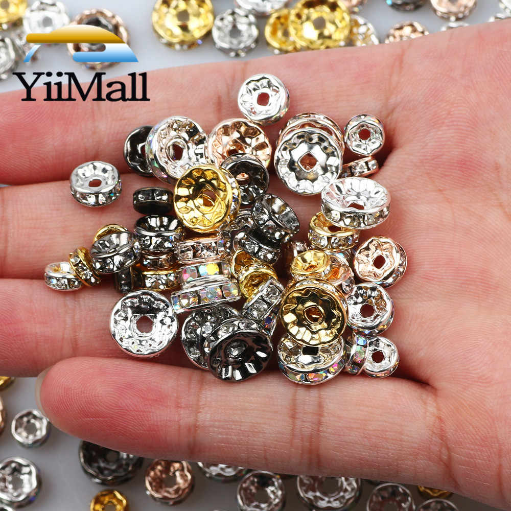 50pcs Copper Flat Round Spacer Beads For DIY Bracelet Jewelry Making 4-10mm