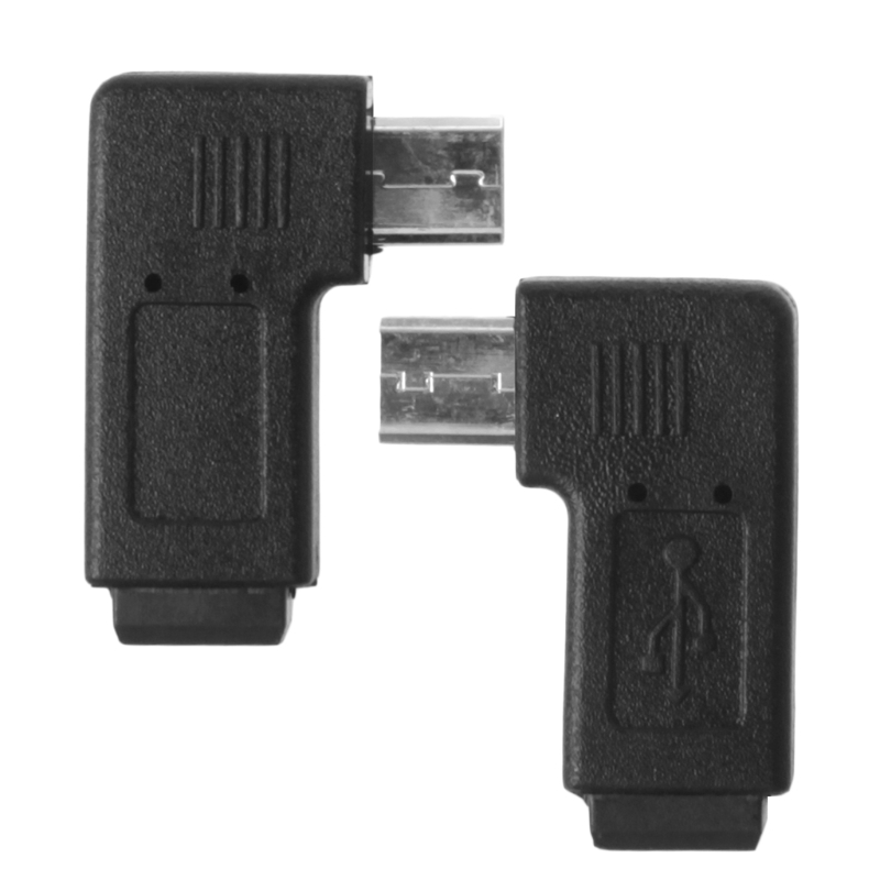 90 Degree Left & Right Angled Mini USB 5Pin Female To Micro USB Male Data Sync Adapter