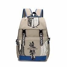 Attack on Titan Cartoon Anime Satchel Bookbag Student School Bag Back Pack Teenagers Unisex Laptop Bags Canvas Zipper Rucksack(China)