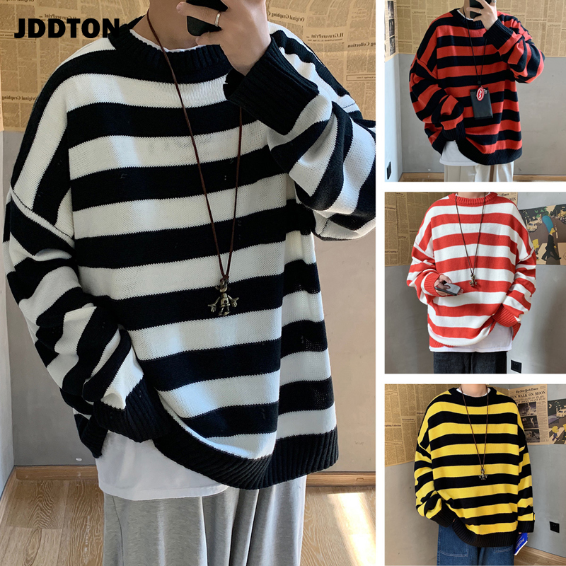 JDDTON Mens Stripe Sweater Casual Loog Sleeve Patchwork Sweater Loose Coat Streetwear Autumn Pullover Male Fashion Clothes JE380