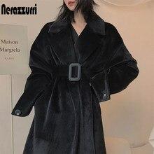 Nerazzurri-manteau en fausse fourrure pour femmes, manteau de fourrure surdimensionné, noir, ceinture longue, chaude, manches longues, grande taille, tendance 7xl